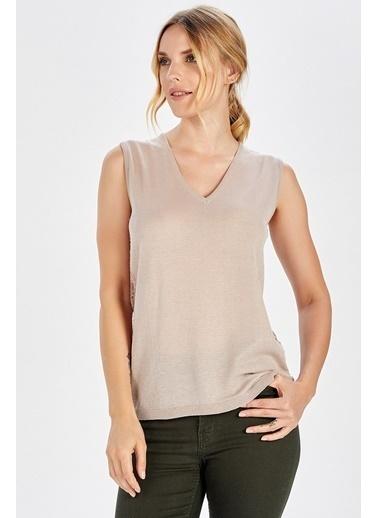 Peraluna Peraluna Dantel Detaylı Bej Renk Kolsuz Kadın Triko Bluz Bej